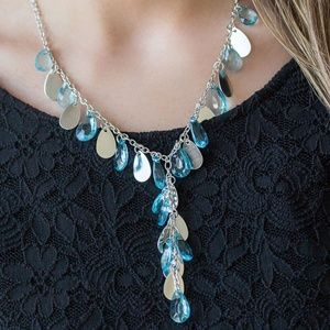 Light Blue & Silver Beaded Y Necklace